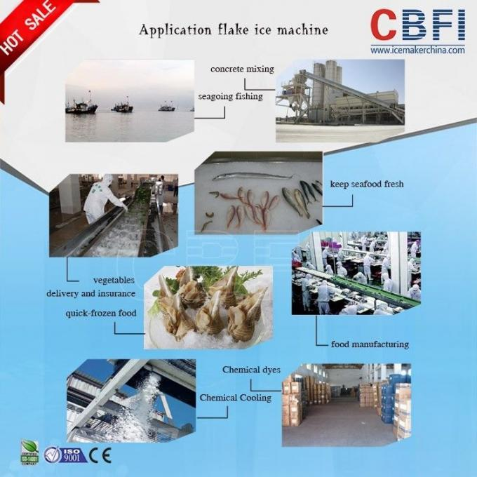 40 Ton Industrial Flake Ice Machine For Fish / Meat / Seaweed Evaporative Cooling